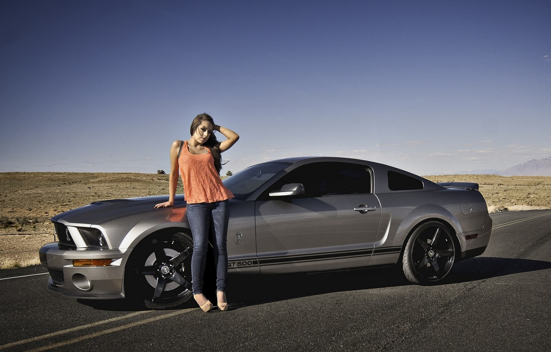 Фото обои дорога, девушка, пустыня, Shelby, GT500, Ford Mustang
