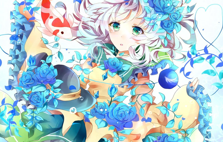 Фото обои девушка, цветы, розы, рыба, шляпа, арт, touhou, komeiji koishi, azumamutuki
