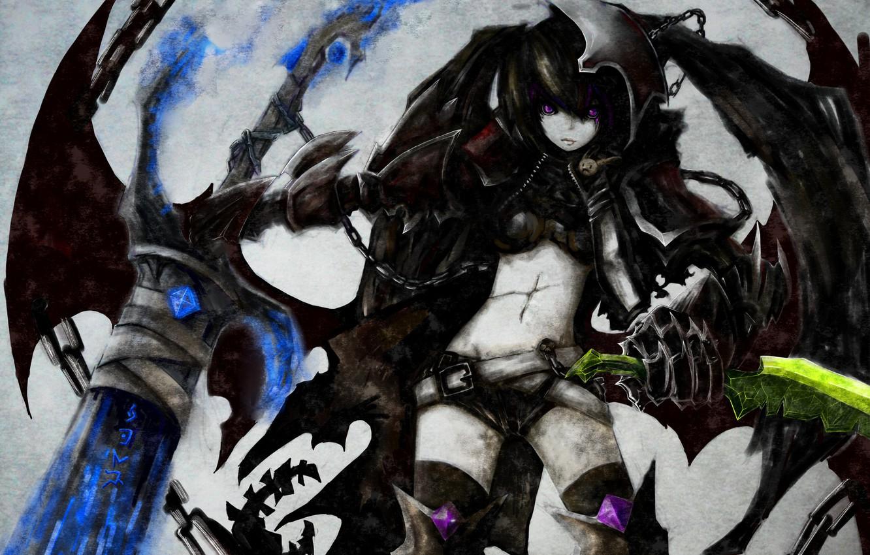 Фото обои девушка, оружие, крылья, меч, аниме, арт, цепь, black rock shooter, шрам, стрелок с черной скалы, …