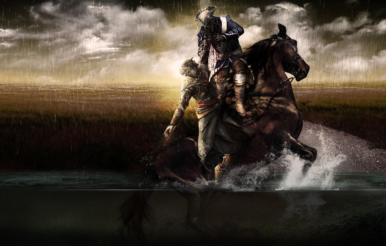 Фото обои поле, болото, assassins creed, ассасин, эцио