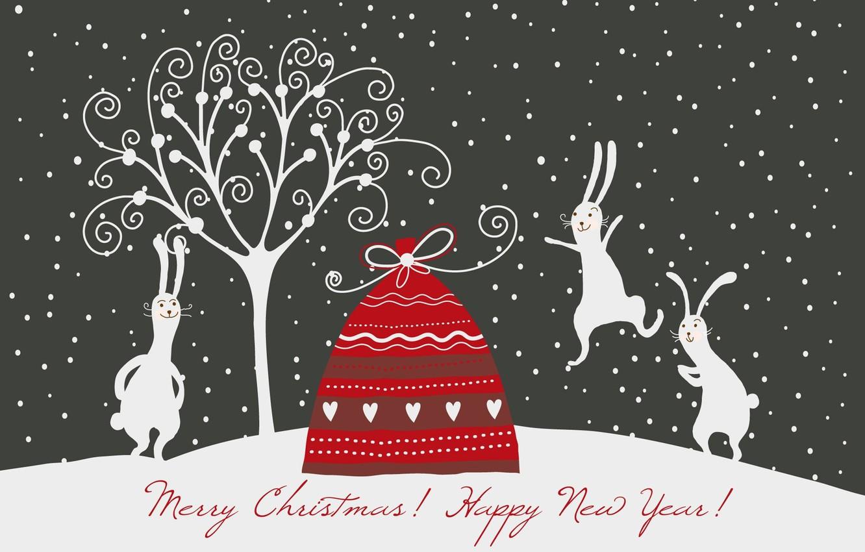 Фото обои новый год, рождество, кролики, зайцы, мешок с подарками