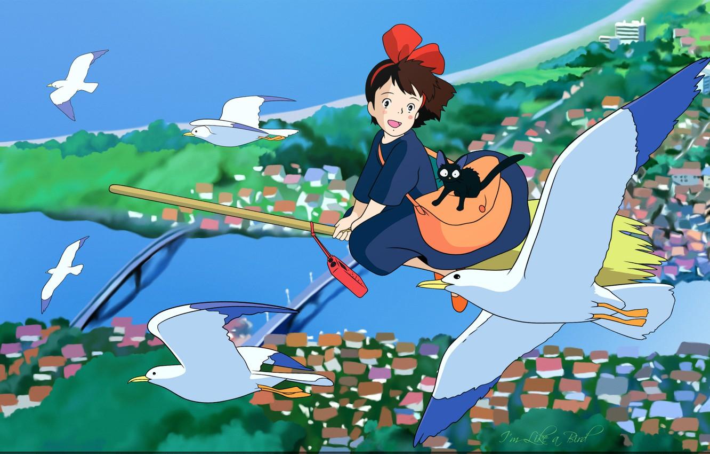 Фото обои полет, мост, река, чайки, крыши, метла, черный кот, art, ведьмина служба доставки, jiji, hayao miyazaki, …