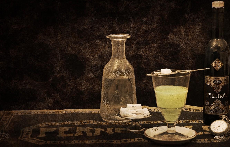 Фото обои стиль, ретро, бокал, бутылка, алкоголь, сахар, wallpaper, alcohol, absinthe, абсент