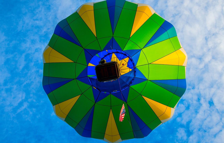 Фото обои небо, облака, полет, воздушный шар, корзина