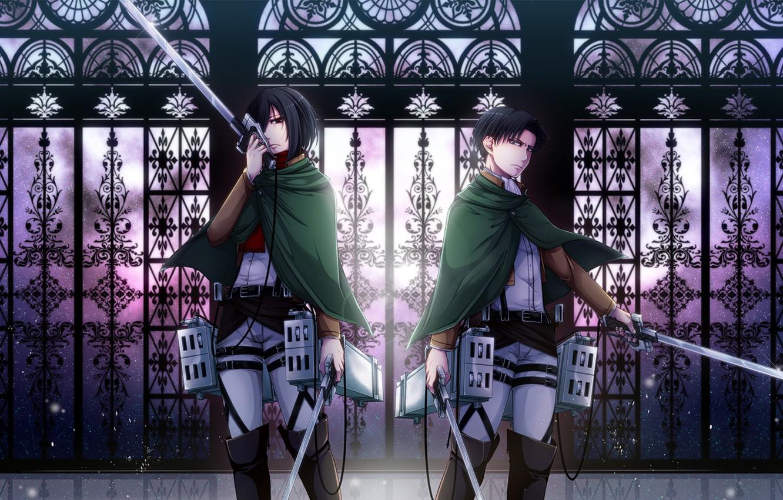 Фото обои девушка, оружие, парень, двое, Attack on Titan, Shingeki no Kyojin, Mikasa Ackerman, Rivaille, Levi