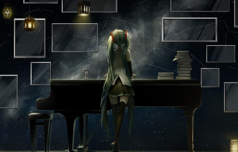 Фото обои девушка, аниме, рояль, арт, vocaloid, hatsune miku, фонарики, saihate