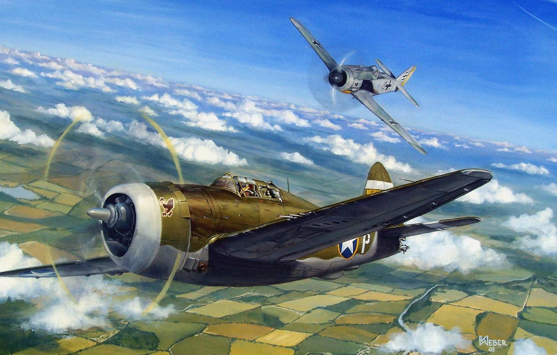 Обои war, painting, aviation, ww2, aircraft, air combat, P 47 thunderbolt, drawing, dogfight. Авиация foto 6