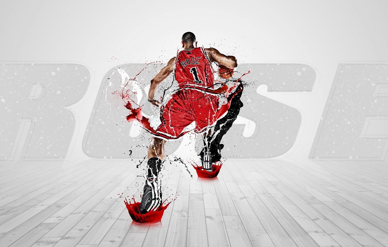 Фото обои Краска, Баскетбол, Брызги, Chicago, Adidas, NBA, Bulls, Derrick Rose, Быки