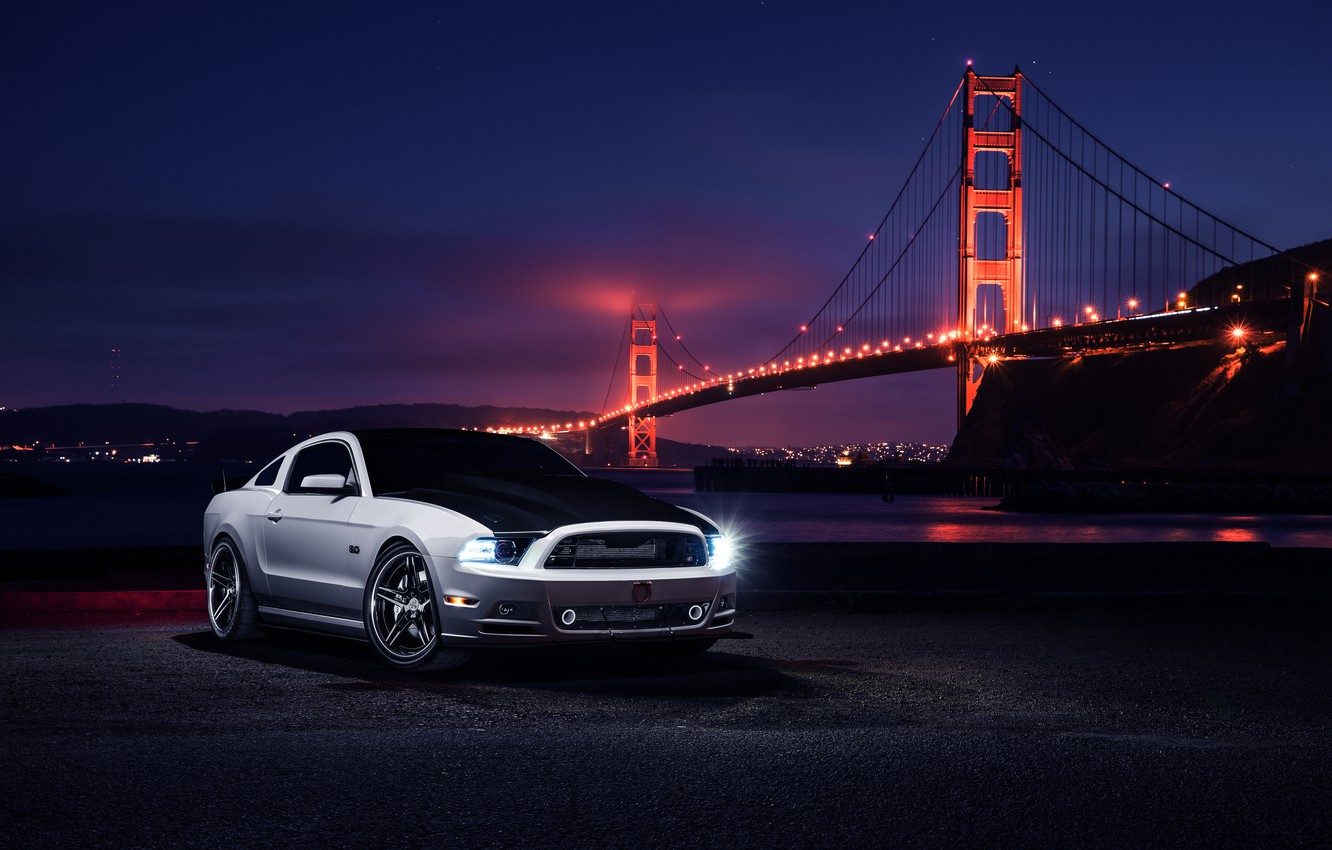 Фото обои Mustang, Ford, Muscle, Car, Front, Bridge, White, Collection, Aristo, Top, Nigth