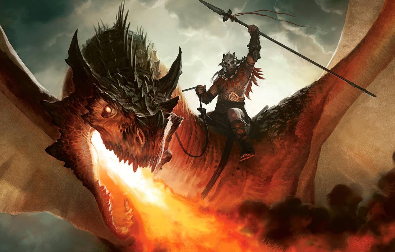 Фото обои огонь, дракон, рисунок, воин, арт, всадник, Dragon, копьё, MTG, Magic: the Gathering