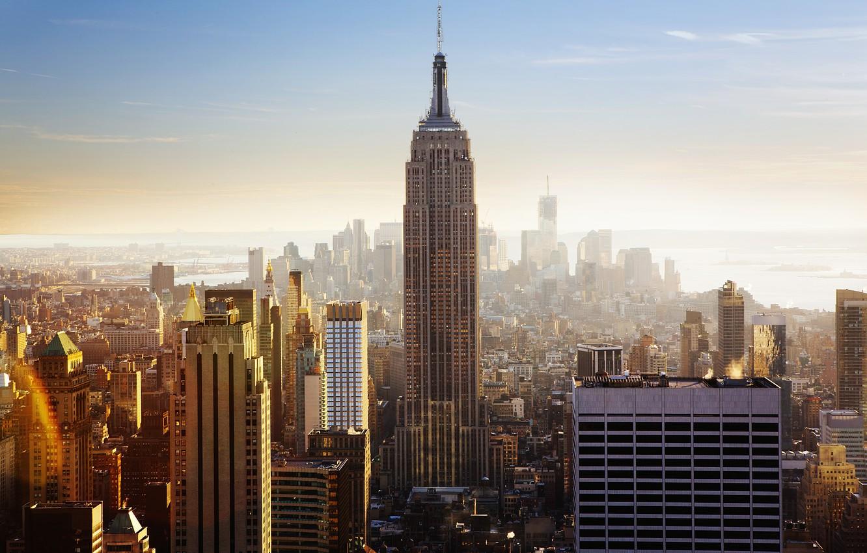 Обои тучи, небоскребы, manhattan, здания, skyline, new york city, освещение. Города foto 9