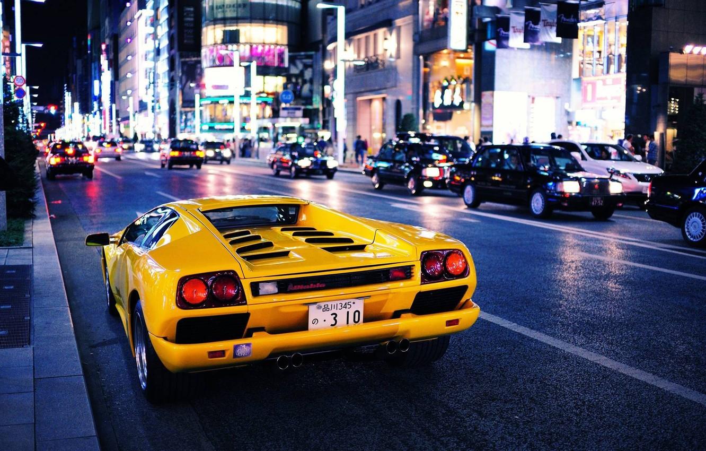 Фото обои car, city, Авто, Желтый, Город, Lamborghini, yellow, Diablo, Ламборгини, Диабло
