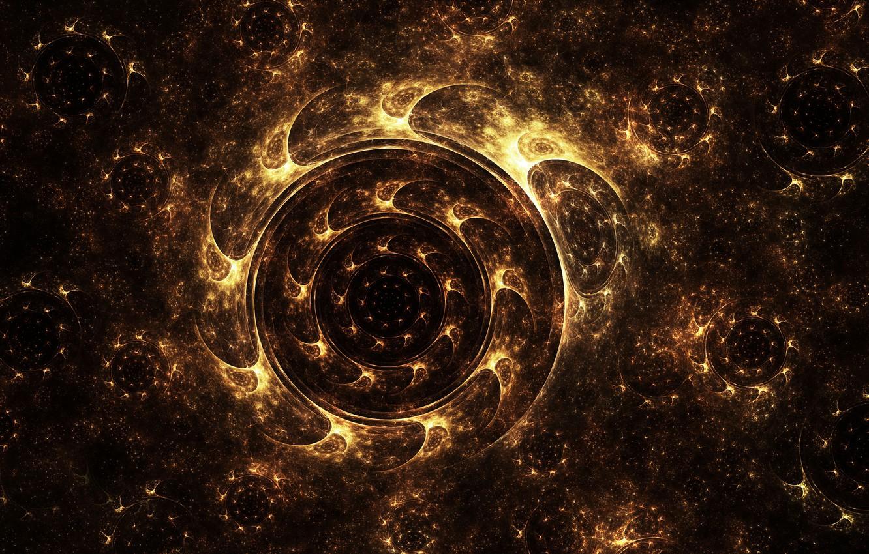 Фото обои сияние, пыльца, круг, колесо, арт, фрактал