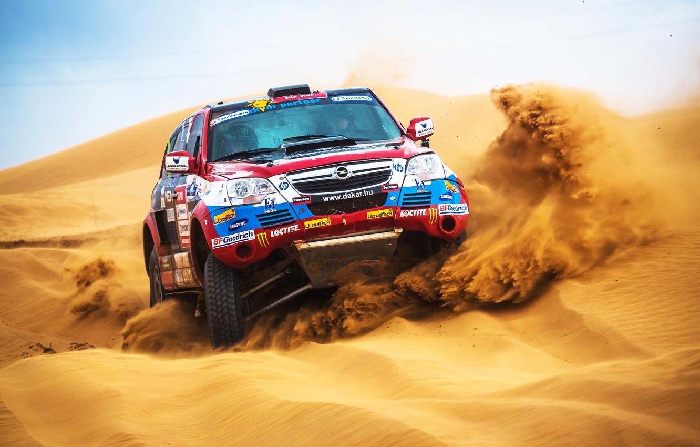 Фото обои Песок, Авто, Спорт, Пустыня, Машина, Скорость, Гонка, День, Opel, Rally, Dakar, Внедорожник, Дюна