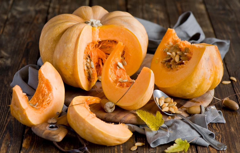 Фото обои осень, листья, тыквы, натюрморт, семечки, желуди