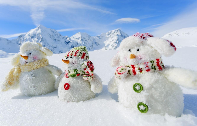 Фото обои зима, снег, горы, природа, новый год, снеговики, White snowmans, 2015