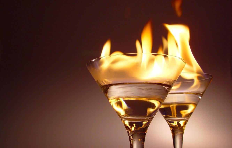 Фото обои огонь, бокалы, алкоголь