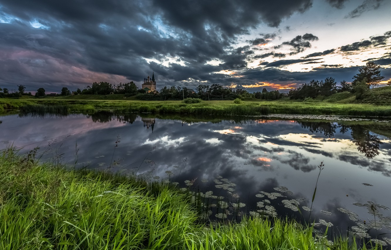 Фото обои пейзаж, ночь, река, храм