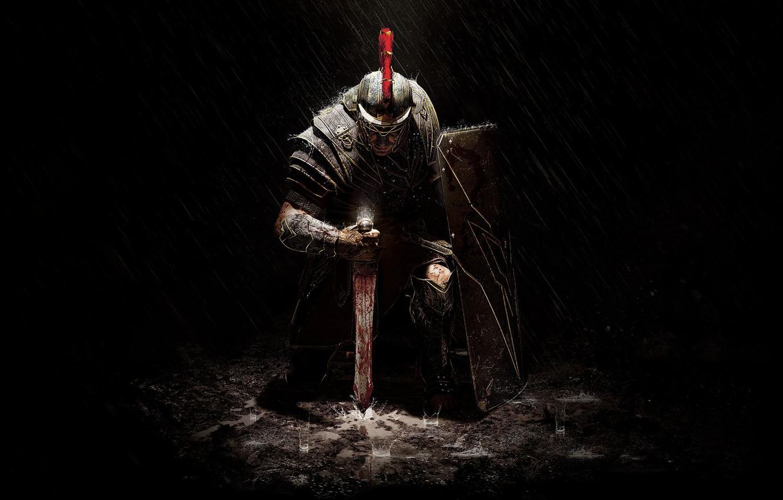Фото обои дождь, меч, доспехи, воин, щит, Crytek, Microsoft Game Studios, Ryse: Son of Rome, Мариус Титус, …
