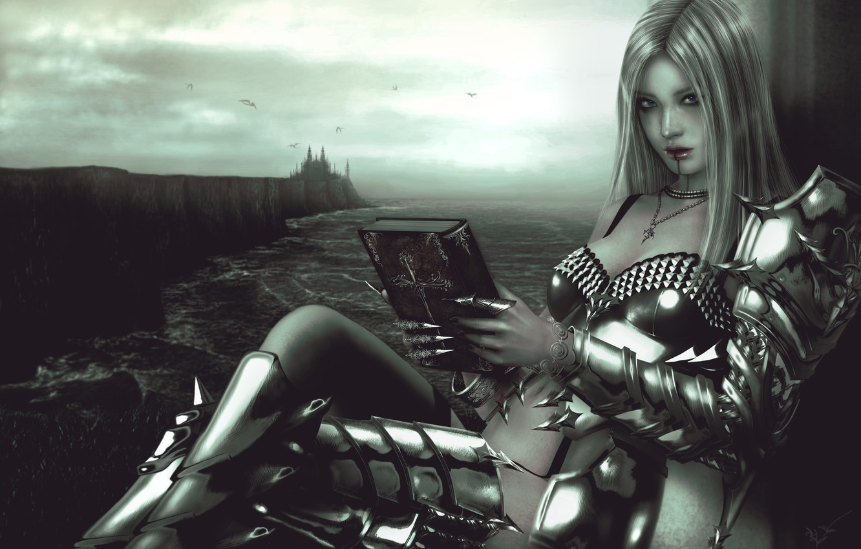 Фото обои взгляд, девушка, замок, фантастика, доспехи, арт, книга, броня, валькирия, valkyrie