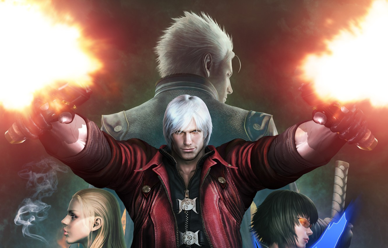 Фото обои Dante, Devil May Cry, Vergil, Lady, Mary, Trish, Devil May Cry 4 Special Edition