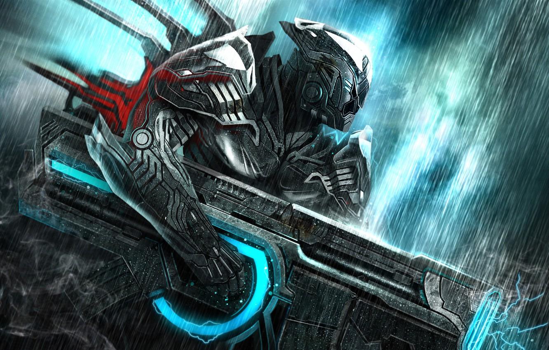 Фото обои энергия, дождь, дым, Воин, пушка, броня