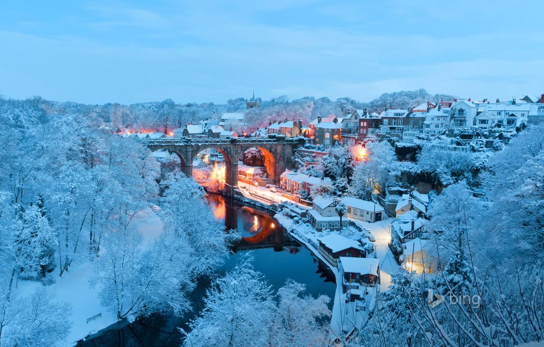 Фото обои зима, снег, пейзаж, мост, огни, река, Англия, дома, Северный Йоркшир, Нерсборо