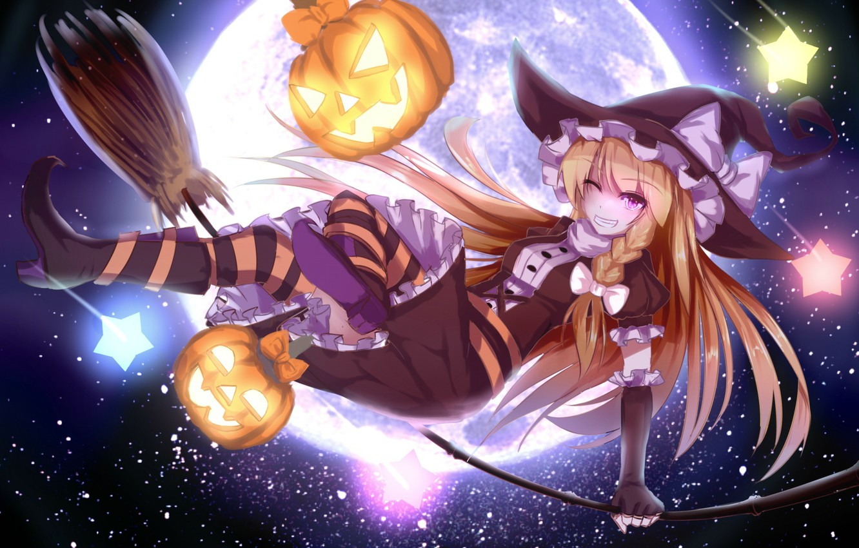 Фото обои небо, девушка, звезды, праздник, луна, шляпа, аниме, арт, тыквы, halloween, touhou, подмигивание, kirisame marisa