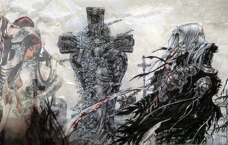 Фото обои туман, крест, призрак, кладбище, надгробие, лохмотья, Кровь Триединства, Lilith Sahl, Trinity blood, Abel Nightroad, густой …