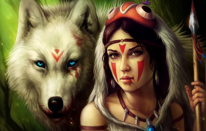 Фото обои девушка, кровь, волк, копье, Принцесса мононоке, Princess Mononoke