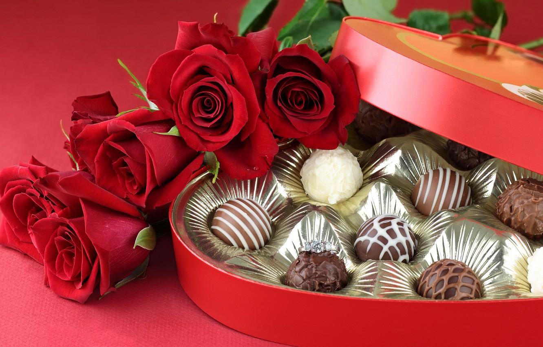 Фото обои капли, цветы, шоколад, красота, букет, colors, конфеты, red, love, rose, wet, flower, photography, heart, красивые, …