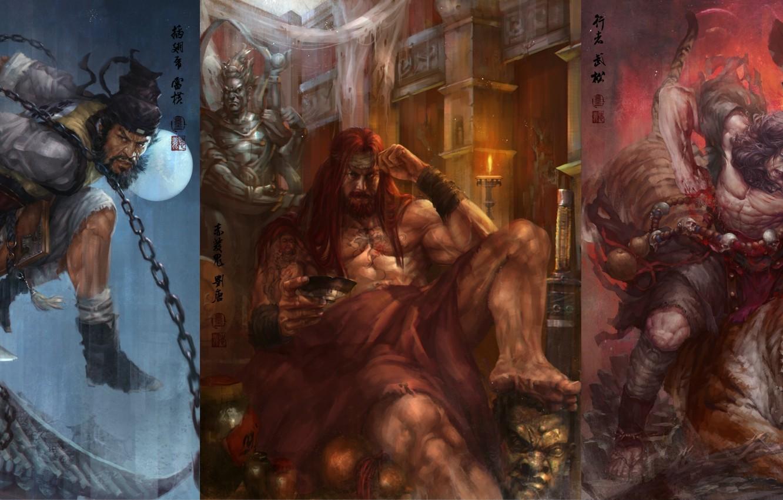 Фото обои sword, tiger, man, painting, shuihu