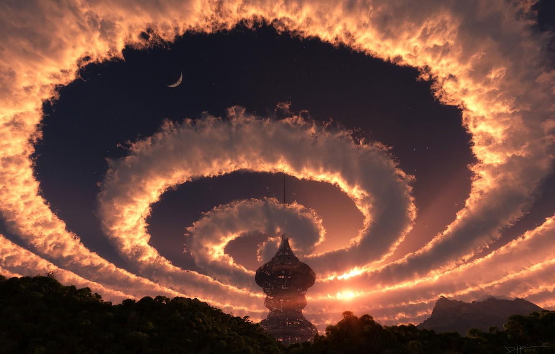 Фото обои лес, небо, солнце, космос, звезды, облака, пейзаж, закат, природа, башня, спираль, вечер, 3-D, купол, строение, …