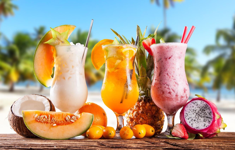 Фото обои море, пляж, коктейль, summer, фрукты, beach, fresh, sea, fruit, paradise, drink, cocktail, tropical