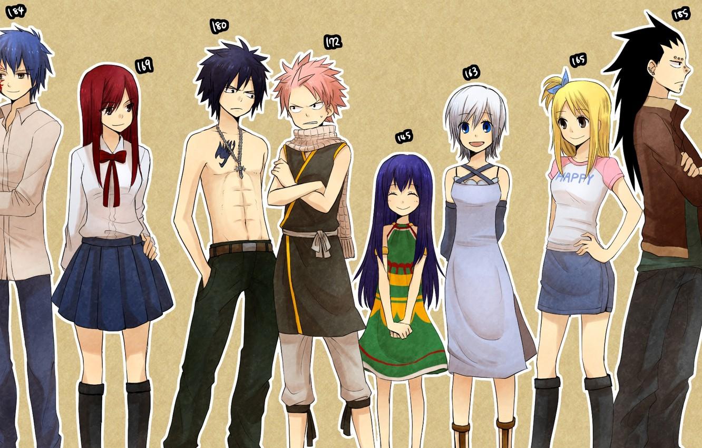 Фото обои улыбка, девушки, крест, аниме, шарф, платье, тату, парни, сказка о хвосте феи, рост, Fairy Tail, …
