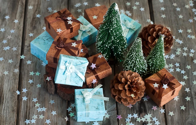 Фото обои праздник, елка, подарки, звездочки, конфетти