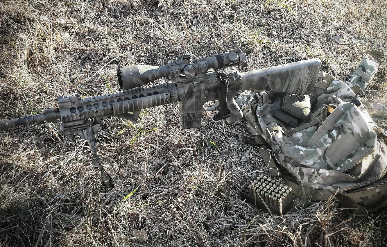 Фото обои трава, оружие, сумка, винтовка, снайперская, Mk 12
