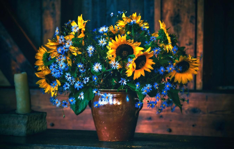 Фото обои цветы, подсолнух, букет, ваза