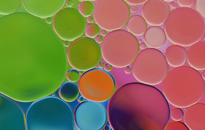 Фото обои вода, пузырьки, масло, круг, воздух, объем