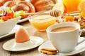 Картинка выпечка, чашка, печенье, кофе, мюсли, салат, фрукты, булочки, мед, завтрак, еда, яйцо