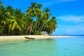 Картинка море, пальмы, лодка, домик, тропики, пляж