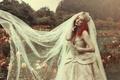 Картинка стиль, цветы, невеста, парк, рыжая, корона, розы, платье, девушка, свадебное платье, настроение, рыжеволосая, фата, Sinopa ...