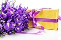 Картинка цветы, коробка, подарок, букет, лента, бант, ирисы, gift