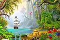Картинка сундук, пираты, ship in exotic nature, детские обои, сокровища, парусник