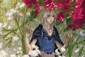 Картинка цветы, плащ, visual novel, kazuaki, демон, art, konoe, ушки, заросли, lamento