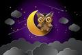 Картинка луна, тучи, ночь, звезды, сова