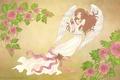 Картинка ангел, девушки, цветы, аниме