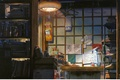 Картинка комната, журналы, makoto shinkai, стол, kotonoha no niwa, окно, сад изящных слов, мастерская, книги, шкаф, ...