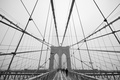 Картинка Manhattan, America, architecture, cable-stayed, Symmetry, NYC, design, b/w, United States, New York, Brooklyn Bridge, black ...
