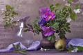 Картинка ваза, цветы, яблоко, шиповник, натюрморт, ноты, жасмин, ветки, кувшин, ткань
